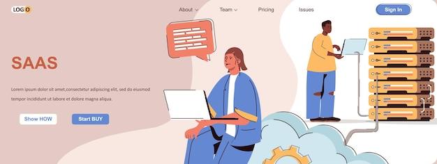 Saas web concept utilizzo di programmi e software tramite servizi cloud in abbonamento