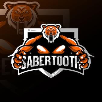 Logo della mascotte sabertooth esport