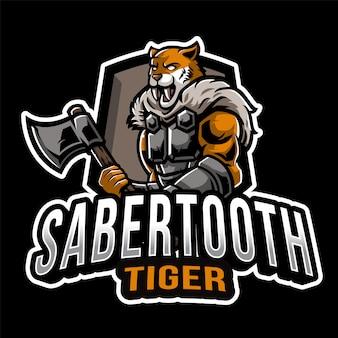 Modello di logo di tigre di sabertooth esport