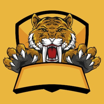 Testa di tigre sabertooth con artiglio e bandiera emblema logo design mascotte