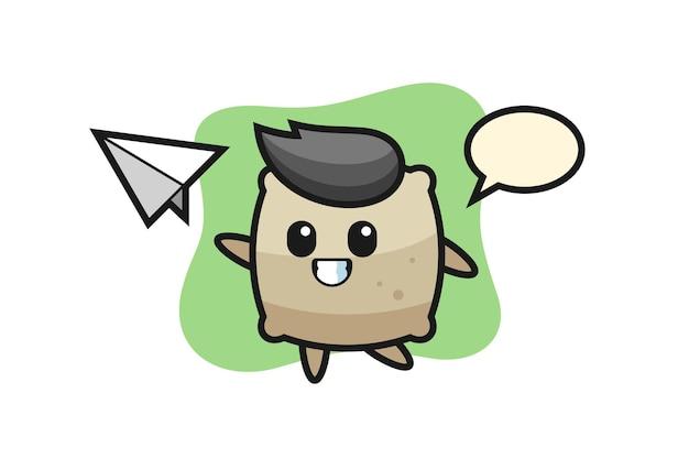 Sacco personaggio dei cartoni animati che lancia aeroplano di carta, design in stile carino per maglietta, adesivo, elemento logo
