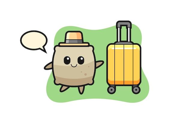 Sacco dell'illustrazione del fumetto con i bagagli in vacanza, design in stile carino per t-shirt, adesivo, elemento logo