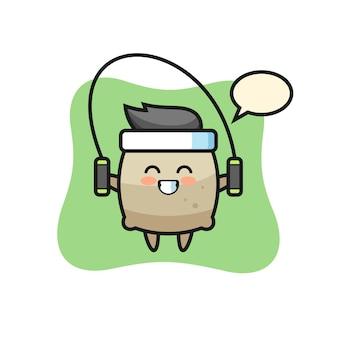 Sacco personaggio dei cartoni animati con corda per saltare, design in stile carino per t-shirt, adesivo, elemento logo