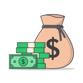 Sacco di soldi e denaro contante isolato su bianco