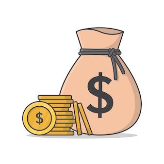 Sacco di soldi e monete di denaro icona illustrazione