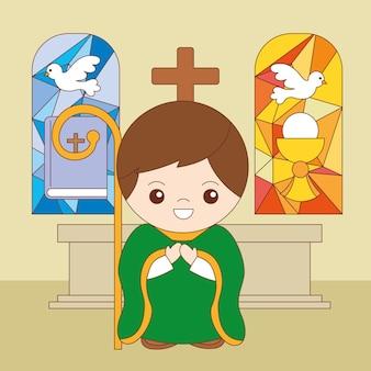 Sacramenti del cristianesimo ordine sacerdotale fumetto illustrazione