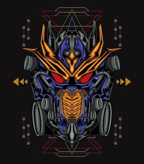 Illustrazione del robot del re della geometria sacra