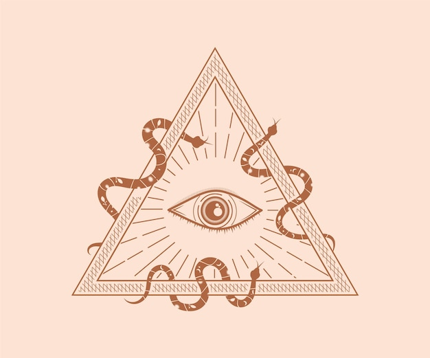 Sacro mistico dio che tutto vede occhio illuminati simbolo illustrazione geometria sacra tatuaggio cicatrice stampa