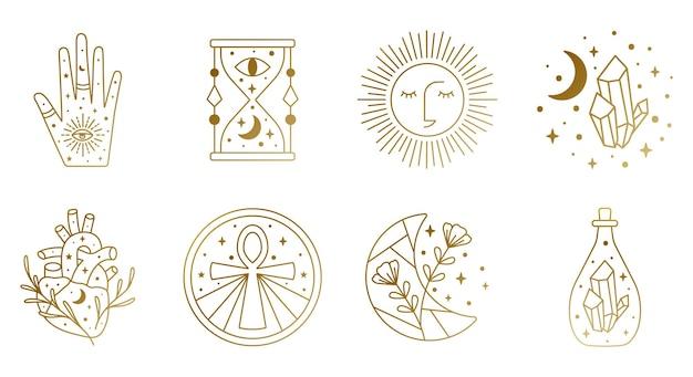Strega sacra e simboli mistici in vettoriale con clessidra sole cuore cristallo mano luna
