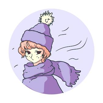 Ragazza triste di manga di inverno di anime isolata su fondo bianco