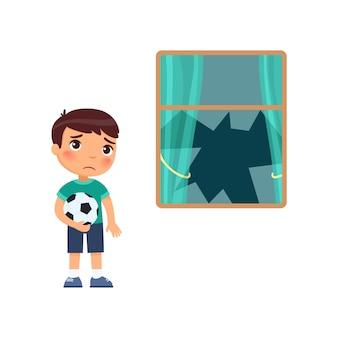 Ragazzo triste con un pallone da calcio e una finestra rotta. cartone animato