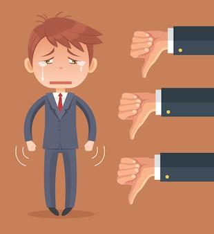 Carattere triste dell'uomo d'affari e molte mani con i pollici verso il basso.