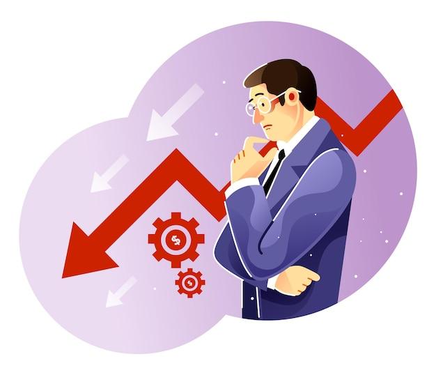 Uomo d'affari triste sopra il grafico aziendale in declino