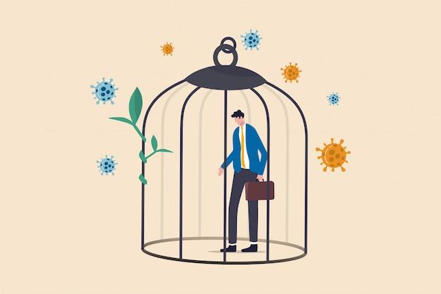 Depresso triste uomo d'affari in piedi in gabbia con patogeno coronavirus.