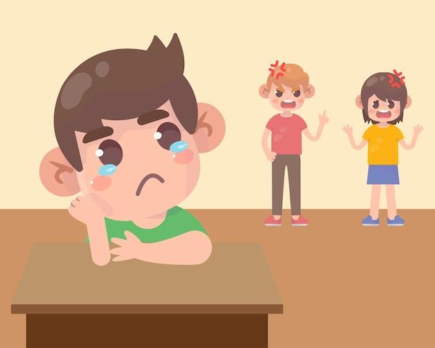 Bambino triste con papà arrabbiato e mamma che litigano