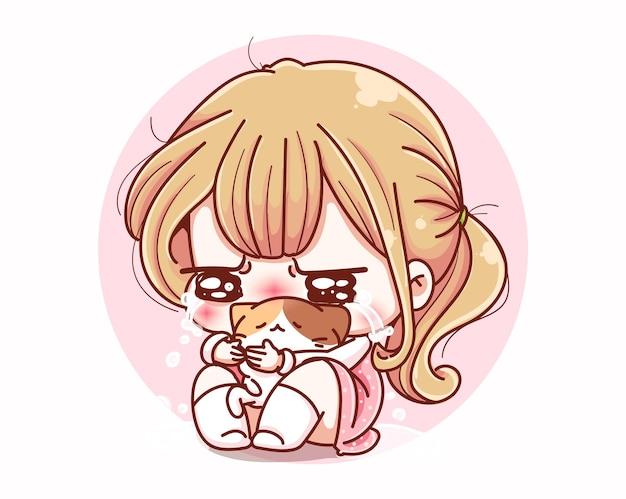 Ragazza carina piange triste e disegno del personaggio dei cartoni animati.