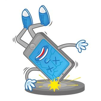 Il tablet triste per telefono cellulare morto che cade sul pavimento e si rompe il problema del display touchscreen danneggiato battito rotto ha bisogno di assistenza per la riparazione. personaggio dei cartoni animati di design piatto illustrazione moderna