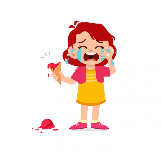 Triste ragazzino ragazzo e ragazza piangono forte