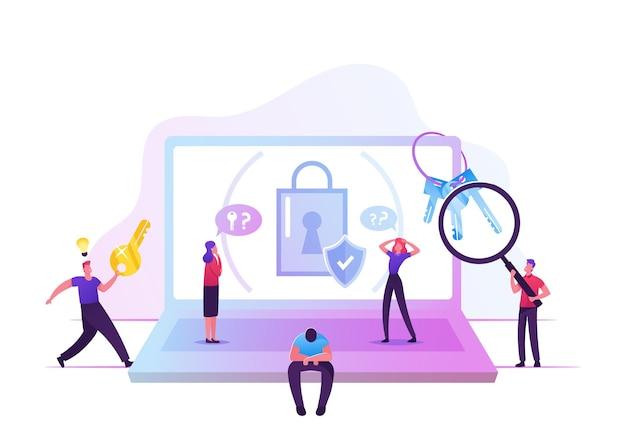 Uomo triste password dimenticata seduto a un enorme laptop con lucchetto e scudo sullo schermo che soffre di codice pin dell'account perso. cartoon illustrazione piatta