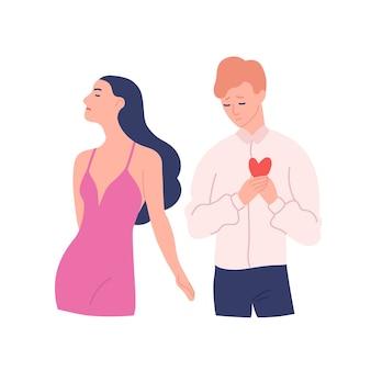 Uomo triste che cerca di presentare il suo cuore alla donna che rifiuta il suo regalo. amore non corrisposto, unilaterale o rifiutato. personaggi dei cartoni animati maschili e femminili isolati