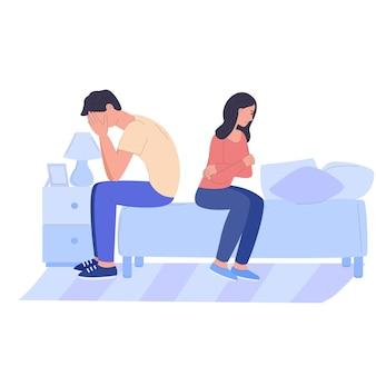 Un uomo e una donna tristi un marito e una moglie arrabbiati una lite un disaccordo risentimento abusi in famiglia