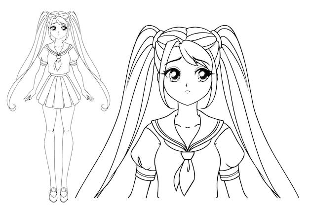 Ragazza manga triste con e due trecce che indossano uniformi scolastiche giapponesi