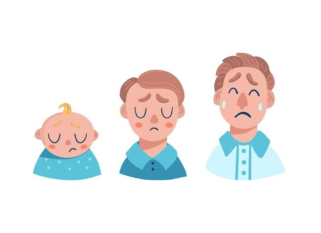 Emozioni di uomini tristi. neonato, adolescente, adulto. lacrime e desiderio.