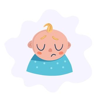 Ragazzo neonato triste. il capo del personaggio.
