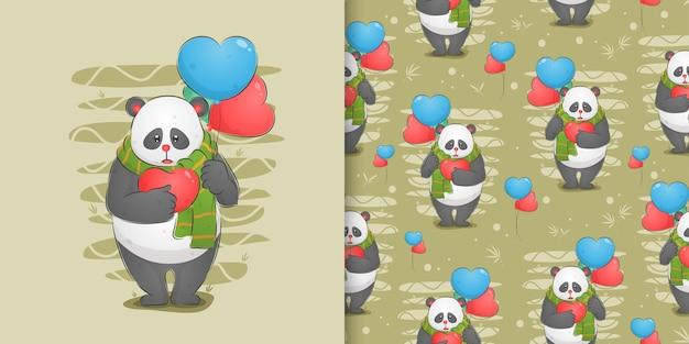 Il panda triste che tiene il suo amore e due palloncini sulla sua mano nel set di pattern di illustrazione