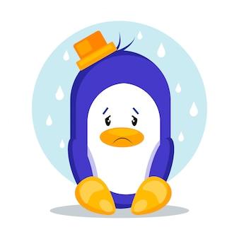 Illustrazione triste di vettore del pinguino