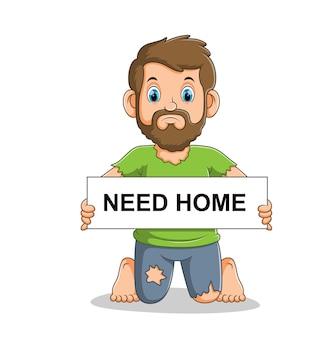 Triste e povero senzatetto che tiene scheda con l'illustrazione del testo
