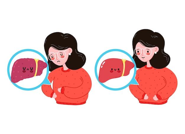 Giovani donne malate e felici tristi con fegato sano vs malsano