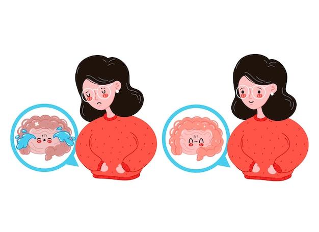 Giovani donne malate e felici tristi con intestino