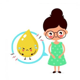 Giovane donna ammalata triste con il carattere di problema dell'urina. illustrazione piatta dei cartoni animati. isolato su sfondo bianco problema alla vescica, concetto di dolore