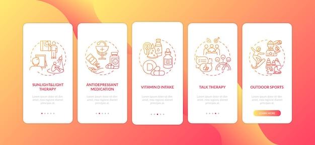 Schermata della pagina dell'app mobile per il trattamento del sad con concetti