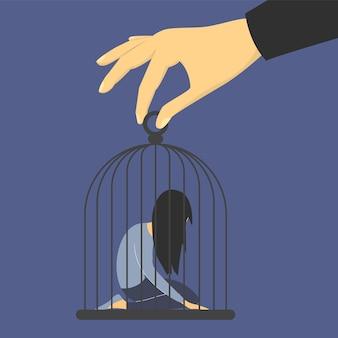 Donna triste nella gabbia. uomo donna abuso, mano gigante che tiene gabbia isolata. ragazza in depressione in ginocchio, prigione e prigione.