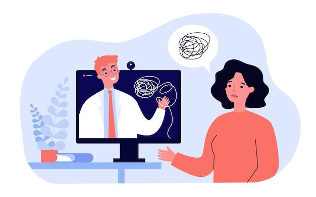 Donna triste che consiglia con l'illustrazione in linea dello psicologo. psichiatra del fumetto che dà consigli tramite consultazione su internet. psicoterapia e concetto di salute mentale