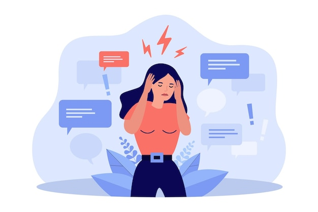 Donna triste che copre le orecchie con le mani per fermare la disinformazione isolata