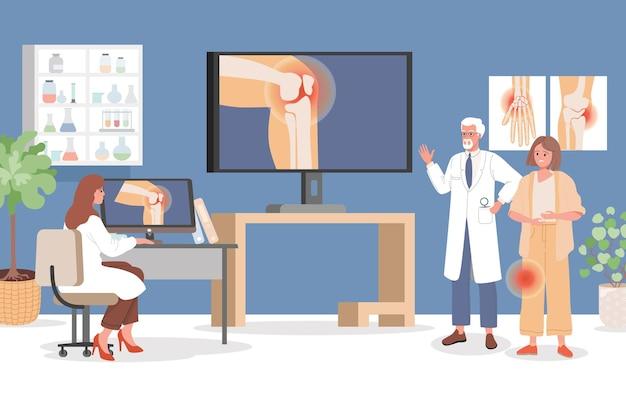 Donna triste con dolore al ginocchio all'appuntamento dal medico in ospedale