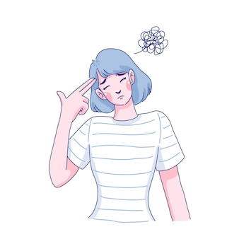 Disegno dell'illustrazione della giovane donna triste