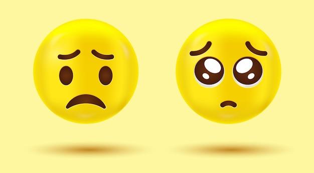 Emoticon di tristezza e faccia infelice con emoji triste piangente