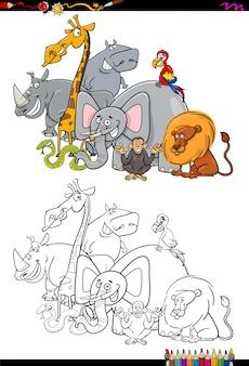 Libro da colorare di personaggi animali safari