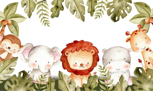 Illustrazione dell'acquerello del modello di cornice animale safari