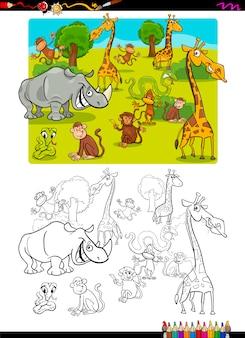 Pagina da colorare di animali safari