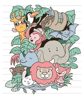 Doodle di animali safari