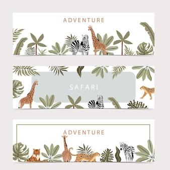Collezione di sfondi banner safari con giraffe, zebre e altri animali selvatici