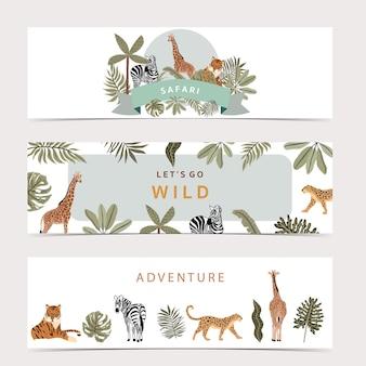 Collezione di sfondo banner safari con giraffa