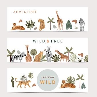 La collezione safari con giraffe e zebre è in piedi. tigre e leopardo sono seduti su sfondo bianco