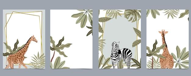 La collezione safari con giraffe e zebre è in piedi su sfondo bianco