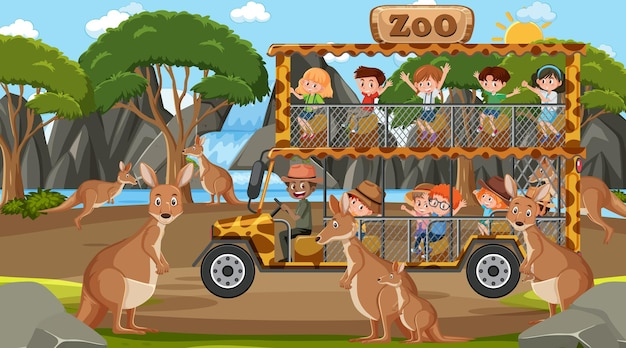 Safari in scena diurna con bambini che guardano un gruppo di canguri
